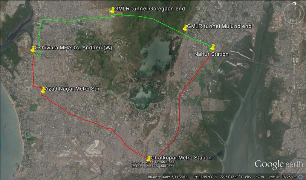 Andheri - West to Nahur route options