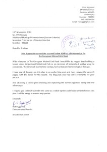 Letter suggesting that a tunnel option be considered for Goregaon Mulund Link Road rather than widening Aarey Road involving cutting of a large number of trees.