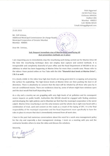 Marine Drive dust letter MCGM