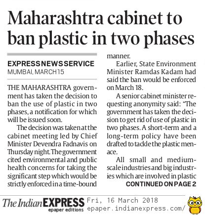 Maharashtra plastic ban 16-Mar-2018 IE